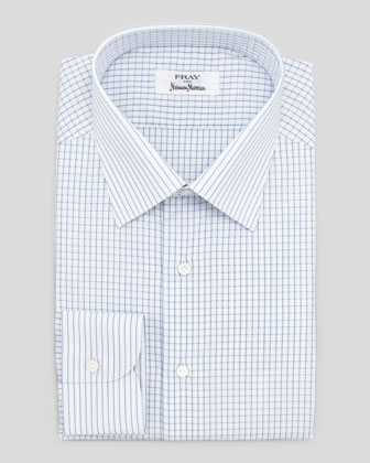 Check Contrast-Stripe Shirt, White/Blue