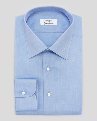 Cotton Herringbone-Striped Shirt, Blue