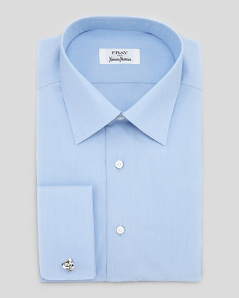 French-Cuff Solid Dress Shirt, Blue