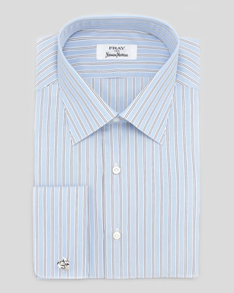 French-Cuff Track-Stripe Dress Shirt, Blue/White