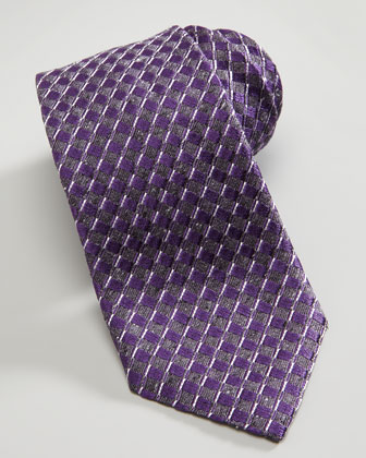 Basket Neat Silk Tie, Purple