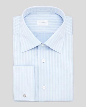 French-Cuff Tonal Stripe Dress Shirt, Blue