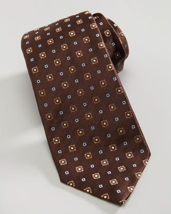 Floral Neat Silk Tie, Brown