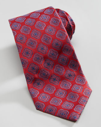 Fancy Square Medallion Silk Tie, Red