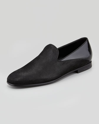 Suede & Patent Leather Loafer, Black