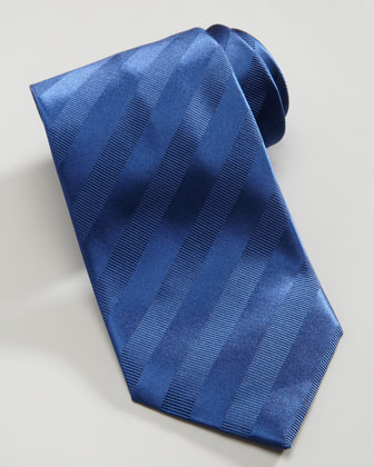 Tonal Stripe Silk Tie, Navy