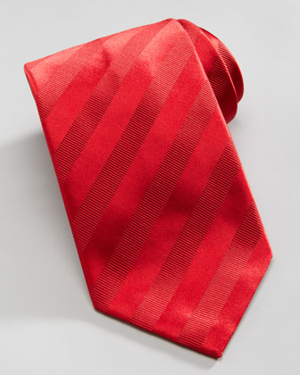 Tonal Stripe Silk Tie, Red