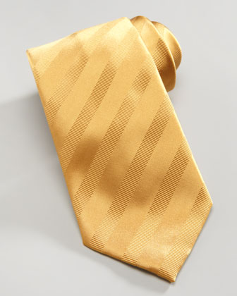 Tonal Stripe Silk Tie, Gold