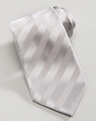 Tonal Stripe Silk Tie, Silver