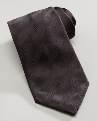 Tonal Stripe Silk Tie, Black