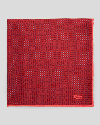 Medallion Micro-Neat Foulard Square, Red
