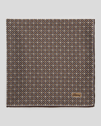 Medallion Neat Foulard Square, Brown