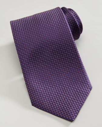 Mini-Diamond Silk Tie, Iridescent Burgundy