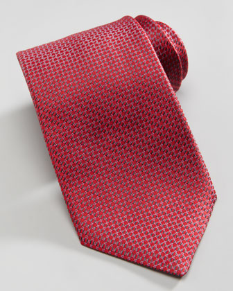 Mini-Diamond Silk Tie, Iridescent Red