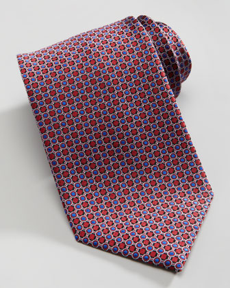 Mini-Circle Silk Tie, Red