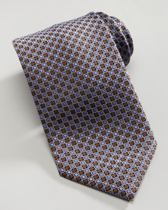 Mini-Circle Silk Tie, Brown