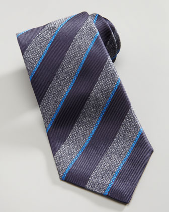 Textured Stripe Silk Tie, Gray