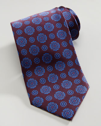 Square-Medallion Silk Tie, Burgundy