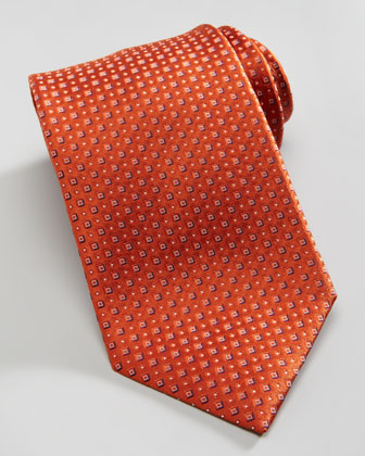 Textured Neat Square Silk Tie, Orange