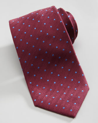 Dotted Herringbone Silk Tie, Burgundy