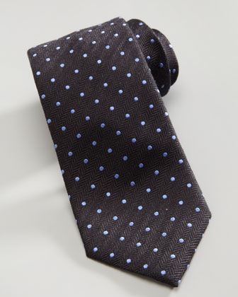 Dotted Herringbone Silk Tie, Charcoal