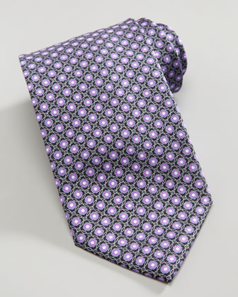 Metallic Flower Circle Silk Tie, Purple