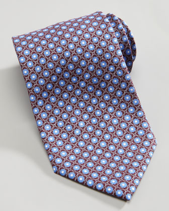 Metallic Flower Circle Silk Tie, Light Blue