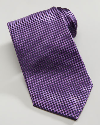 Shiny Basketweave Silk Tie, Purple