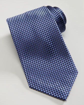 Shiny Basketweave Silk Tie, Blue