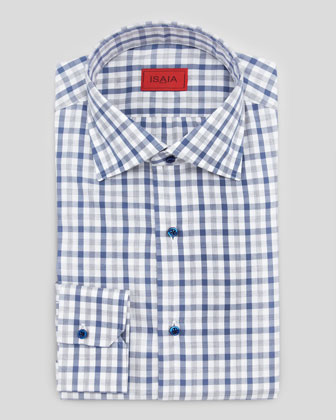 Melange Check Cotton Shirt, Blue/Gray