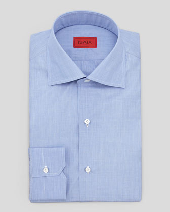 Solid Woven Dress Shirt, Blue