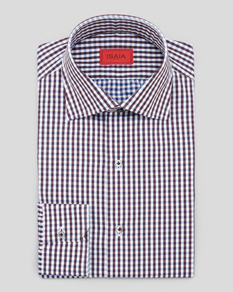 Shadow Gingham Dress Shirt, Burgundy/Blue