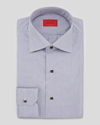 Micro-Check Cotton Shirt, Brown/Blue