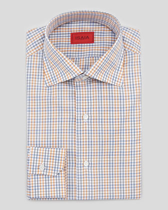 Check Cotton Shirt, Orange/Gray