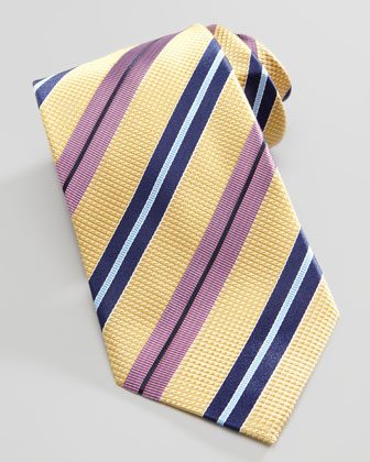 Textured Striped Silk Tie, Yellow