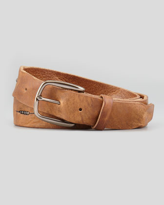 Bead-Detailed Leather Belt, Brown