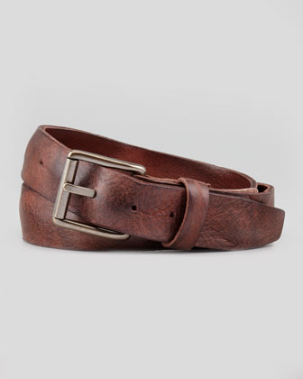 Distressed Leather Work Belt, Brown