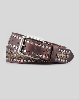Studded Leather Belt, Brown