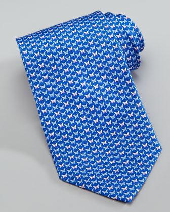 Micro-Butterflies Silk Tie, Blue