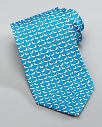 Rabbits Silk Tie, Aqua