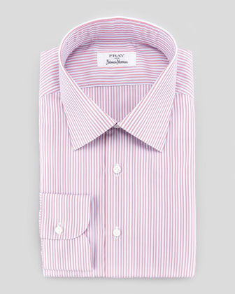 Satin-Stripe Dress Shirt, Red/White