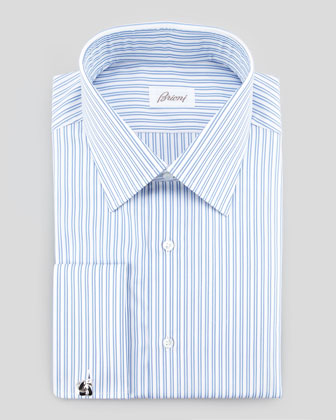 Double-Track Stripe Dress Shirt, Blue