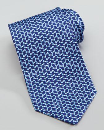 Bow-Tie-Print Silk Tie, Navy