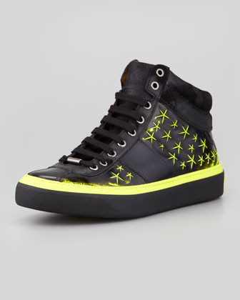 Belgravia Men's 3D Star High-Top Sneaker, Neon Yellow