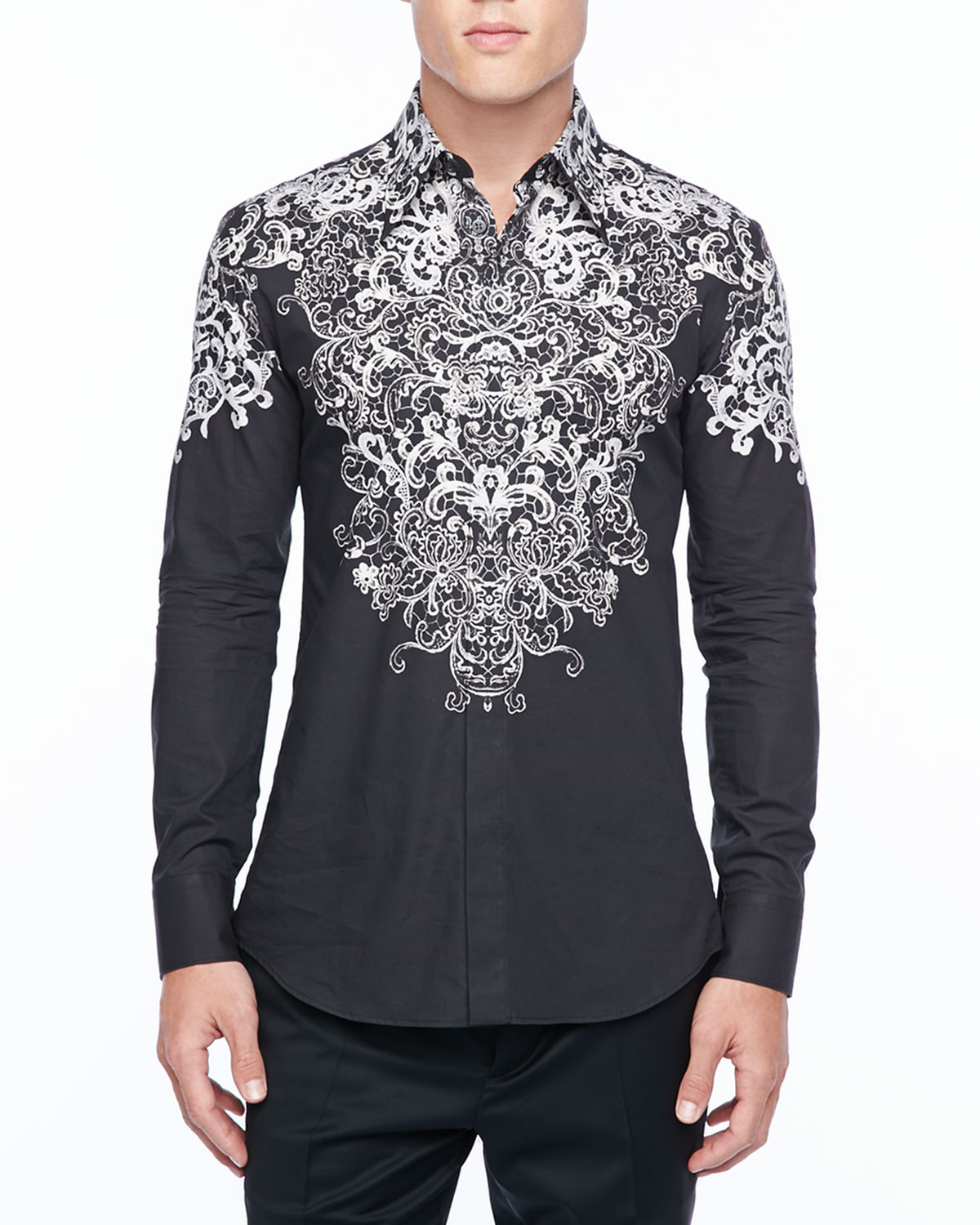 Mens Long Sleeve Shirt with Silver Lace Print, Black   Alexander McQueen