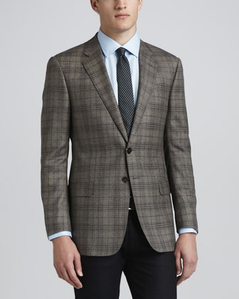 Plaid Hopsack Sport Coat, Brown/Blue