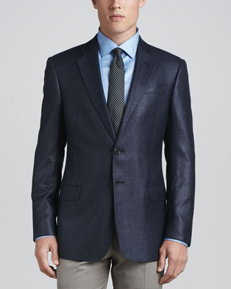 Hopsack Two-Button Blazer, High Blue
