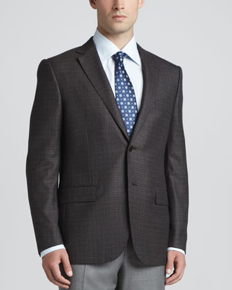 Multi-Check Sport Coat, Brown