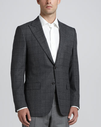 Windowpane-Check Hopsack Sport Coat, Gray