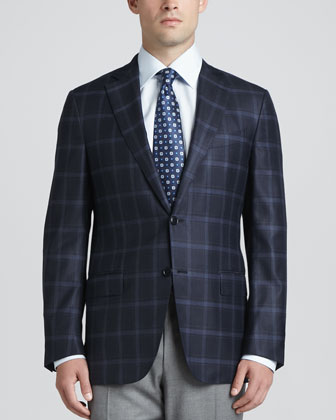 Plaid Two-Button Sport Coat, Navy